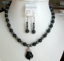 Mystic Swarovski Jet Pearls Dark Grey Pearl Heart Pendant Necklace Set - $39.38