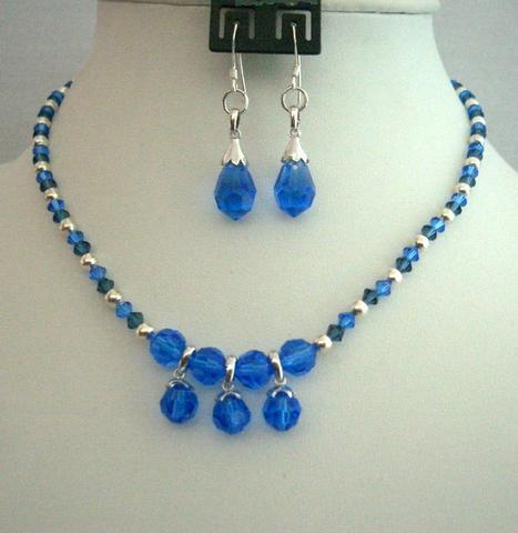 Swarovski Sapphire Montana Crystal Necklace Handcrafted Custom Jewelry