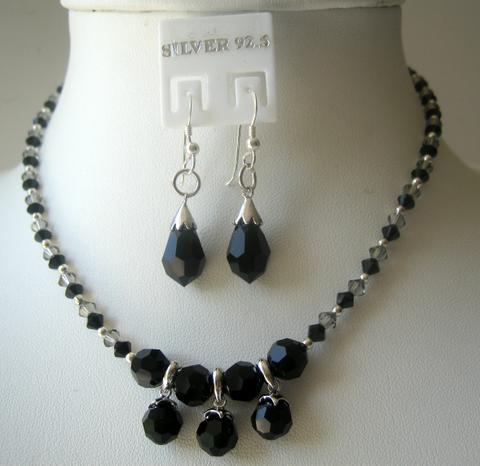 Primary image for Custom Handcrafted Jewelry Swarovski Jet Crystals w/ Silver Earrings
