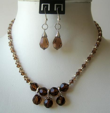 Primary image for Handmade Smoked Topaz Crystals TearDrop Necklace Set Custom Jewelry