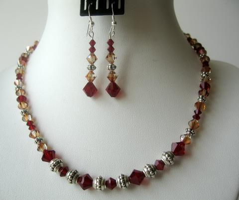 Primary image for Sunset Siam Red Copper Crystals Bali Silver Party Jewelry Necklace Set