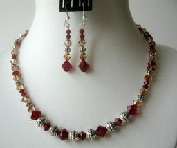 Sunset Siam Red Copper Crystals Bali Silver Party Jewelry Necklace Set - $41.35