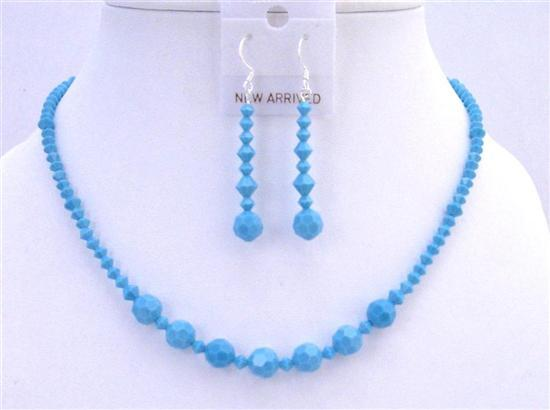 Primary image for Turquoise Crystals Jewelry Set Handcraft Necklace Set