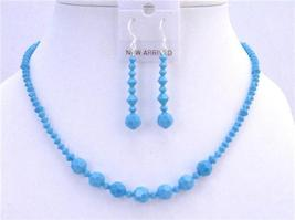 Turquoise Crystals Jewelry Set Handcraft Necklace Set - $43.95