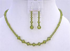 Swarovski Olivine Crystals Handmade Jewelry Set - $41.35