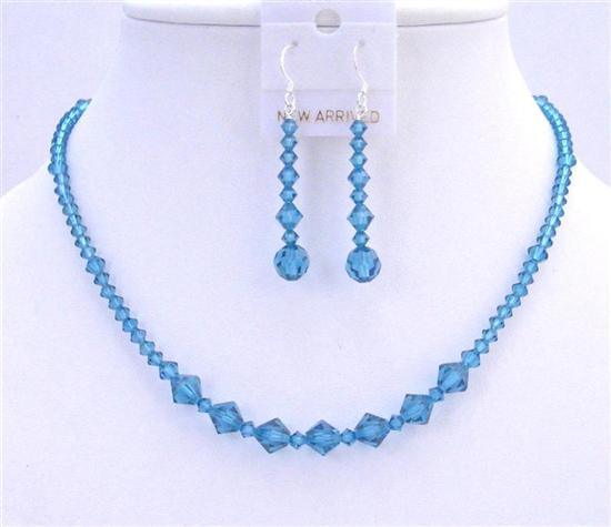 Indicolite Necklace Set Swarovski Crystals Jewelry Set