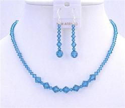Indicolite Necklace Set Swarovski Crystals Jewelry Set - $41.35