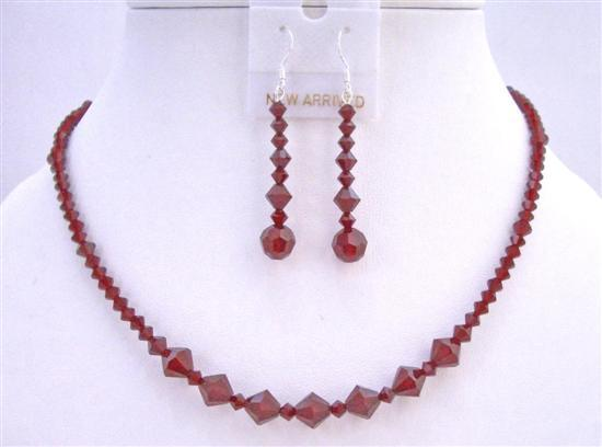 Primary image for Swarovski Crystals Jewelry Set Siam Red Crystals Necklace Set