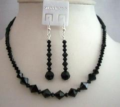 Custom Handmade Jewelry Swarovski Jet Crystals Necklace Set - $43.95