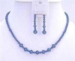 Handmade Swarovski Crystals Necklace Set Montana Blue Necklace Set - $41.35