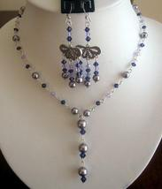 Swarovski Light purple Pearls w/ violet purple Crystals Y Necklace Set - $41.98