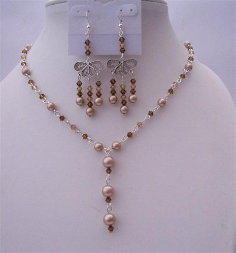 Dark Brown Smoked Topaz Crystals Bronze Pearls Y Necklace Jewelry Set