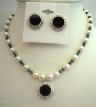 Black White Necklace Set Swarovski Cream White Pearls AB Jet Crystals - $45.88
