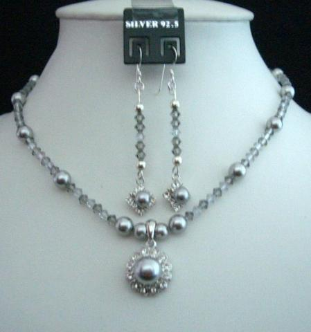 Primary image for Grey Tone Swarovski Grey Pearls & Crystals Pendant Necklace & Earrings