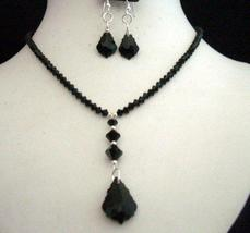 Handcrafted Necklace Set in Swarovski In Jet Crystals - $46.55