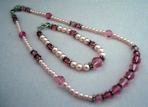 Necklace & Bracelet Handcrafted Rosaline Pearls & Crystals Bali silver
