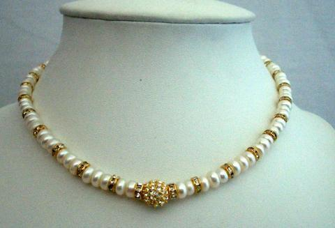 White FreshWater Pearls Choker Rondells Gold Plated Pendant Necklace