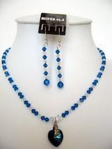 Swarovski Blue & AB Crystals w/ Pendant Necklace Set - $39.38