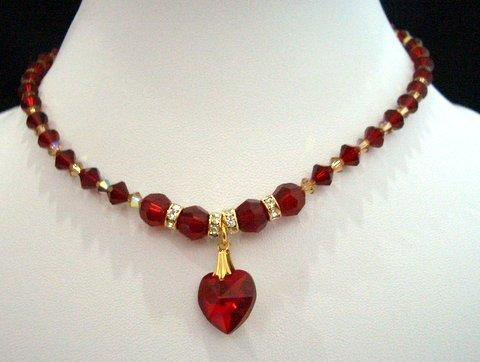 Swarovski Crystals Red Siam Heart Necklace Bridal Handcrafted Necklace
