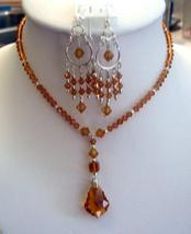 Swarovski Austrian Topaz Crystals Necklace Set Custom Jewelry - $48.48