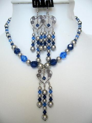 Primary image for Swarovski Sapphire Crystals Pearls Vintage Necklace Set Custom Jewelry