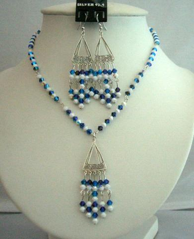 Morian Swarovski Crystals Necklaces Set & Chalk AB Crystals Jewelry