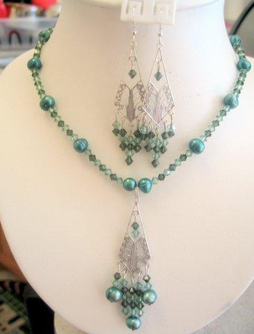 Swarovski Crystals Erinite Green FreshWater Pearls Custom Necklace Set