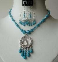 Swarovski Crystals AB Turaquoise Handcrafted Necklace Set CZ Pendant - $54.98