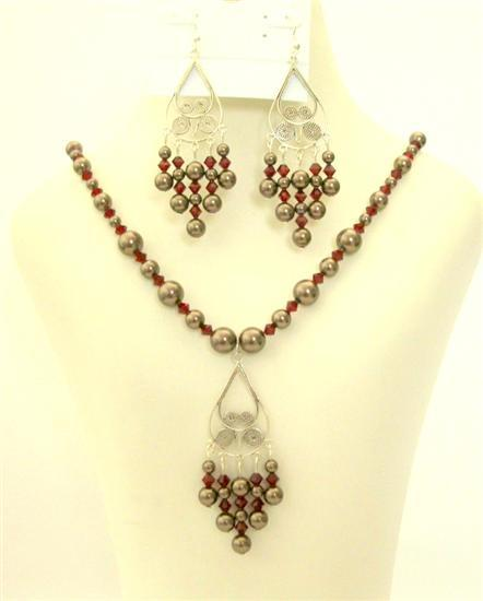 Swarovski Jewelry Dark Brown Pearls Dark Siam Red Crystals Silver Set