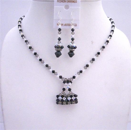 TriColor Swarovski Crystal Jewelry Handmade Purse Pendant Necklace Set