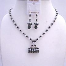 TriColor Swarovski Crystal Jewelry Handmade Purse Pendant Necklace Set - $45.88