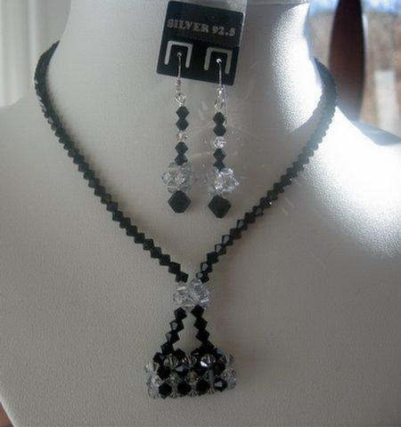 Primary image for Swarovski Jet Crystals w/ Purse Pendant Necklace Set