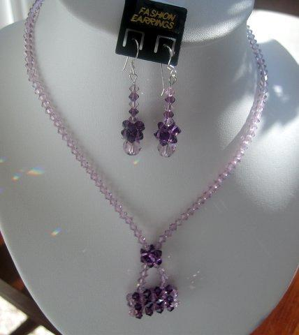 Primary image for Light Amethyst Swarovski Crystal Purse Pendant Necklace Custom Jewelry