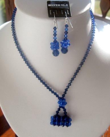 Primary image for Sapphire Swarovski Crystals w/ Purse Pendant Necklace Set