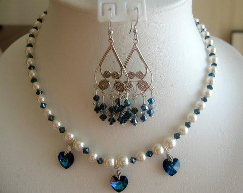 Swarovski Cream Pearls Blue Sapphire Crystals Handcrafted Necklace Set