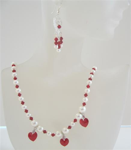 Primary image for Swarovski Siam Red Crystals Heart Necklace Set Cream Pearls Earrings