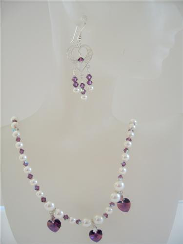 Amethyst Crystals Heart Jewelry Swarovski Cream Pearls Necklace Set