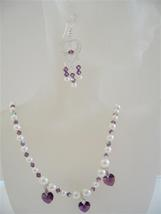 Amethyst Crystals Heart Jewelry Swarovski Cream Pearls Necklace Set - $52.38