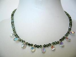 Swarovski String Chrysolite Satin Crystals & AB Briolettes Necklace - €52,46 EUR