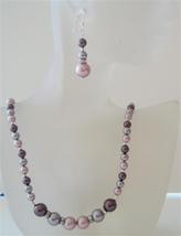 Powder Rose Pearls Jewelry Set Tri Pearls Burgundy Mauve Necklace Set - $45.88