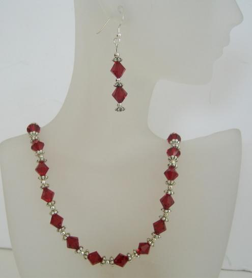 Swarovski Siam Red Crystals Jewelry w/ Bali Silver Earrings & Necklace