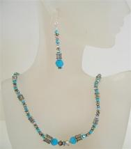 Turquoise Ethnic Jewelry Swarovski Volcano Turquoise Bead Necklace Set - $52.38