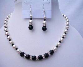 Swarovski Jet Crystals White Pearls Jewelry Fine Necklace Sets - $52.38