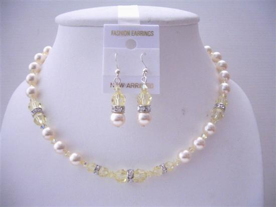 Jonquil Swarovski Crystals Handmade Jewelry Ivory Pearls Necklace Set