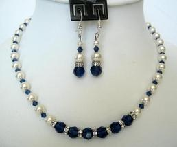 Vintage Necklace Set in White Pearls Sapphire Crystals Jewelry - $49.78
