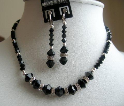 Primary image for Vintage Handmade Necklace Set in Swarovski Jet Crystals