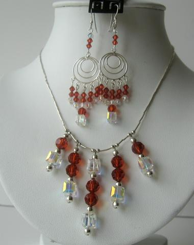 Primary image for Swarovski Red Indian & AB Crystals Bridal Sterling Silver Necklace Set