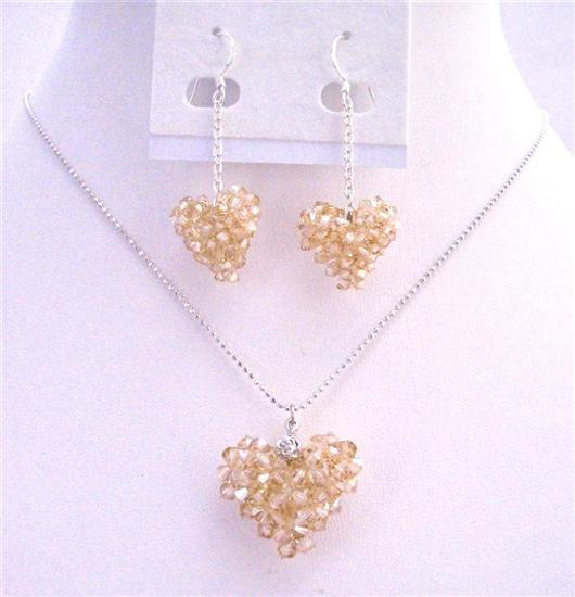Swarovski Golden Shadow Puffy Crystals Heart Necklace Passion Jewelry