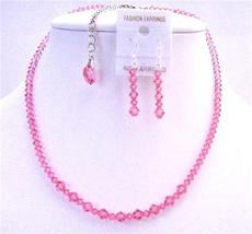 Back Drop Down Crystals Heart Necklace Set Rose Pink Back Drop Heart - $47.18