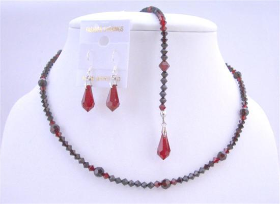 Top Drilled Teardrop Back Drop Down Siam Red Garnet Crystals Necklace